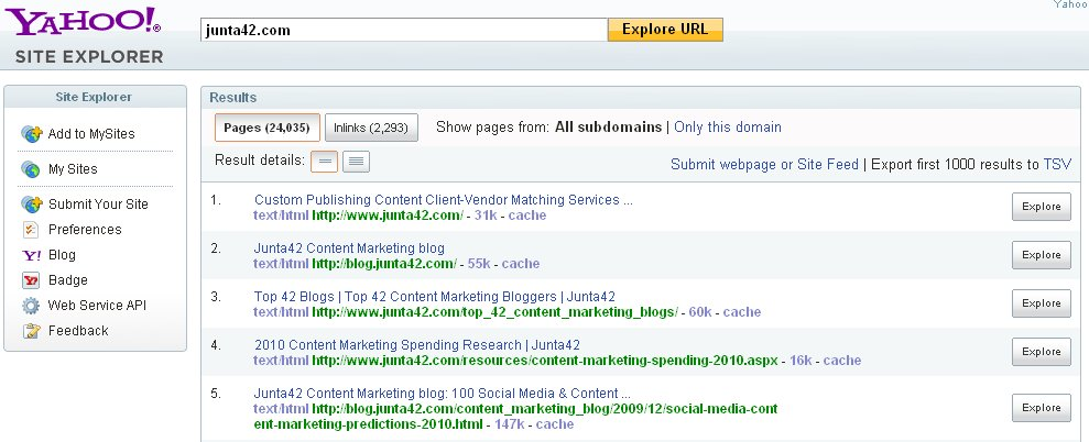 Junta42 in Yahoo Site Explorer