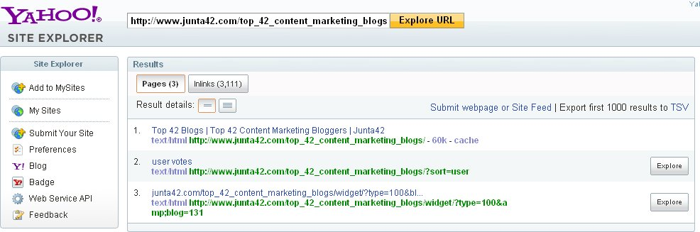 Junta42 in Yahoo Site Explorer