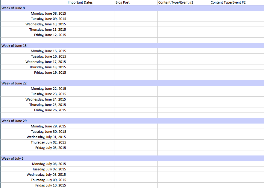 Content Calendar Templates To Help Your Content Strategy Market - Blog post schedule template