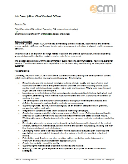 Job Description. Chief Content Officer Job Description Job
