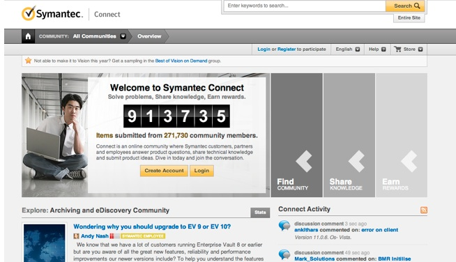 Symantec Connect is another online community, CMI