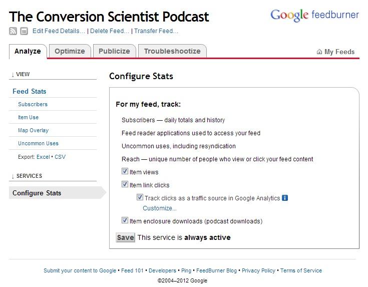 podcast measurement - feedburner2