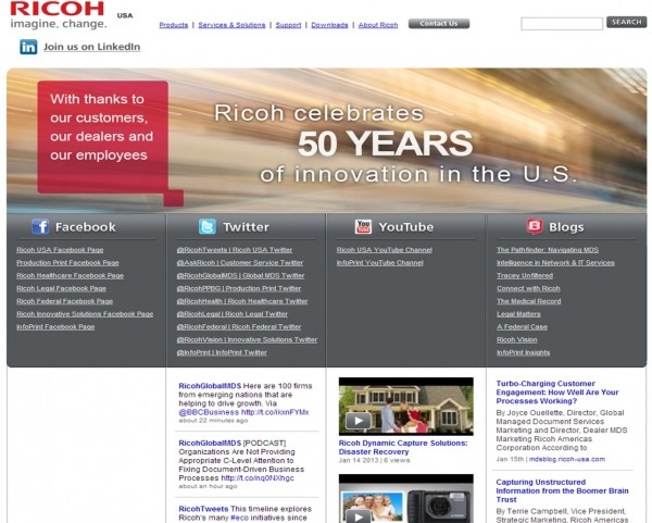 Ricoh uses many avenues of social media