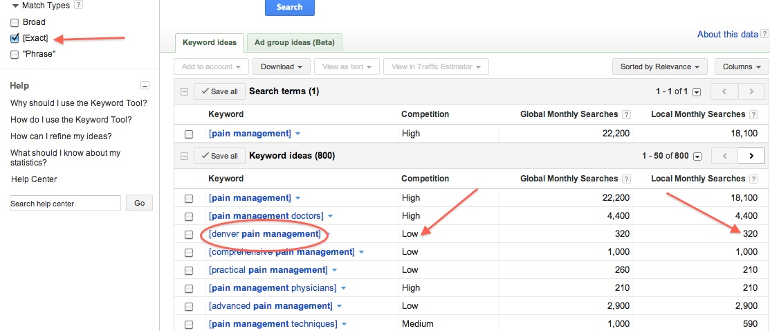 keyword ideas - exact match