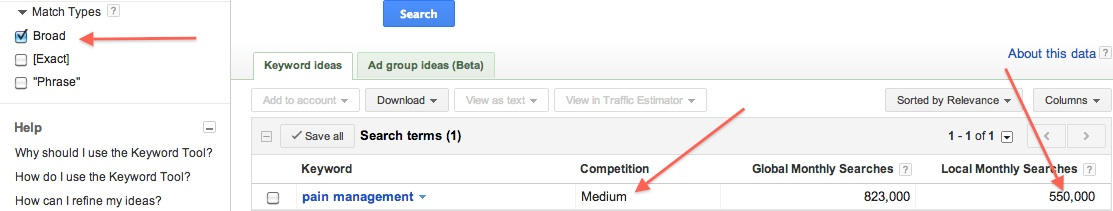 search - medium competition