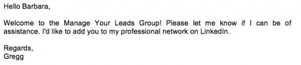 invitation to new linkedin group members