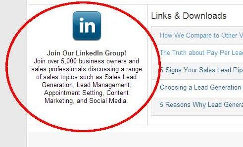 LinkedIn Group invitation on homepage
