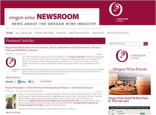 Oregon wine board - content curation example