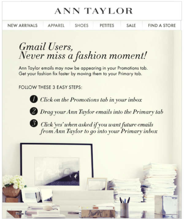ann taylor message to gmail users