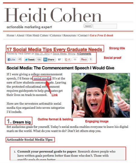 heidi cohen marketing page