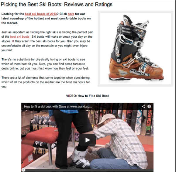 best ski boots page-video added