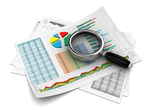 magnifying glass with charts, in-depth search results
