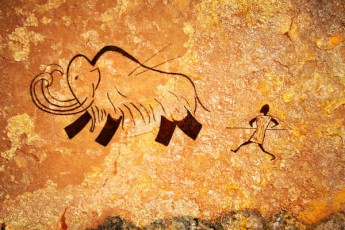 cave drawing-mammoth and hunter