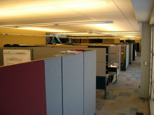 cubicles in an office-silos