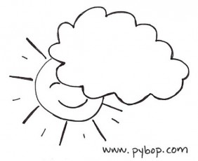 drawing-sun behind rain cloud