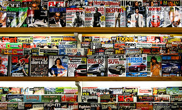 full rack of magazines