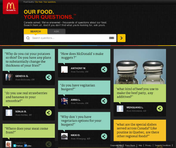 example-mcdonalds our food your questions