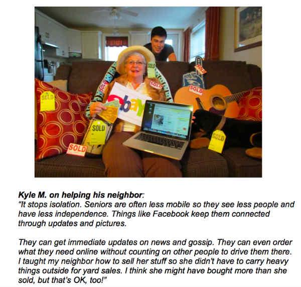 grandma with laptop, ebay sign