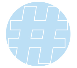 hashtag image-blue circle