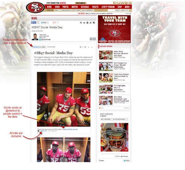 SF 49ers page-Storify example