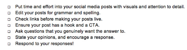 checklist-social media engagement