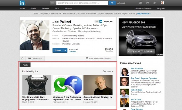 joe pulizzi on linkedin
