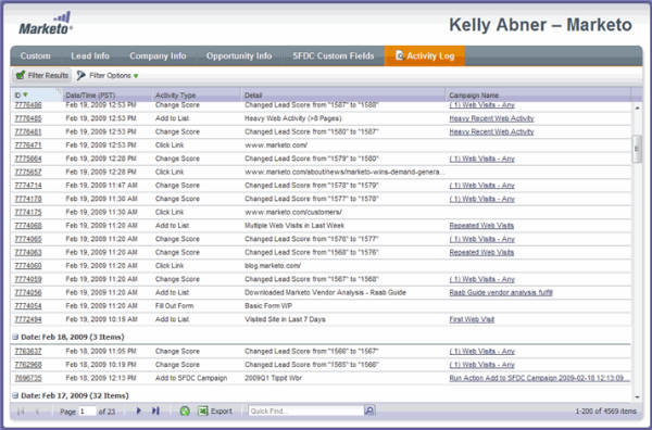 activity log report example-marketo