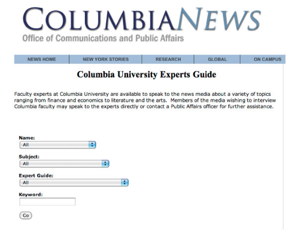 columbia news-experts guide