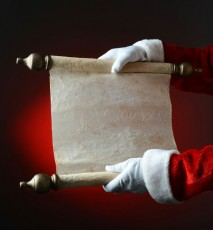 santa's hands holding list