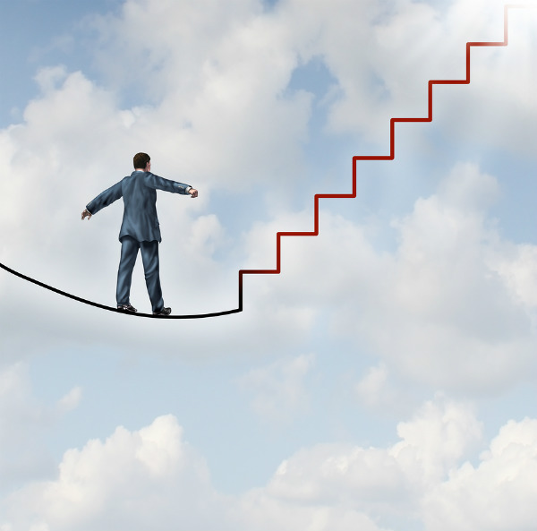 man walking tightrope-steps