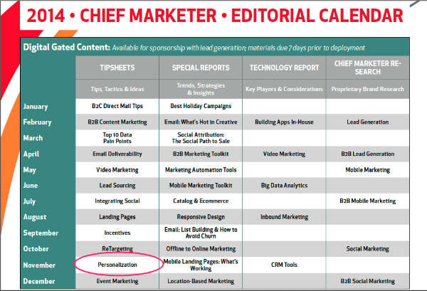 chief marketer-editorial calendar
