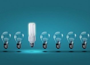 regular lightbulbs with one different one