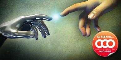 metal hand-spark-human hand-cco
