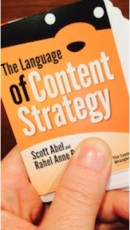 hand holding title-language of content strategy