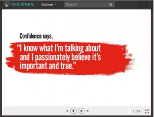 confidence says-white words-red splash
