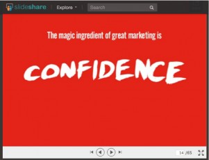 confidence-white word-red background