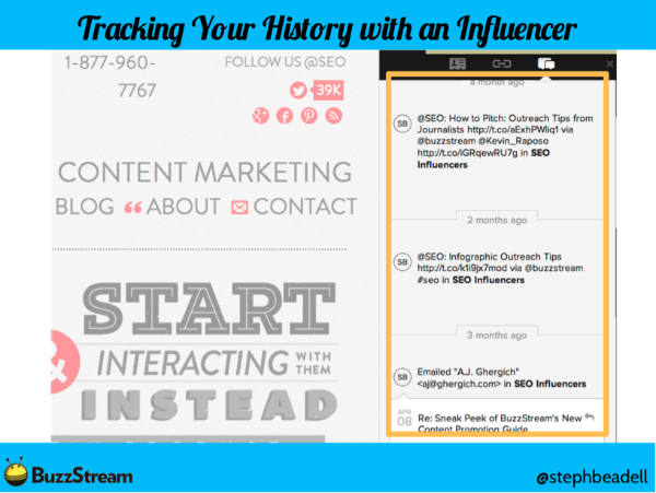 buzzstream example-tracking your history