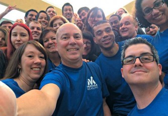 team selfie-blue shirts