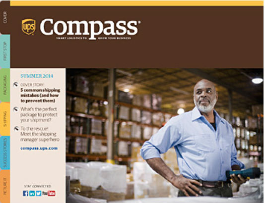 man in warehouse-compass