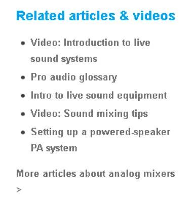 example-related articles/videos listing