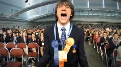 boy with medals yelling