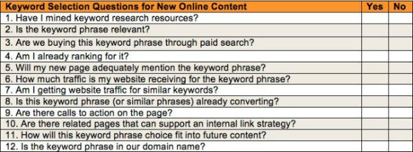 keyword-selection-checklist