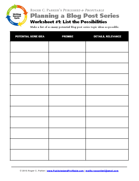3 step action plan with worksheets for 2 months of blog posts