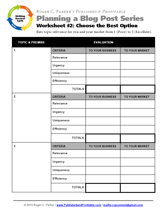 3Step Action Plan With Worksheets for 2 Months of Blog Posts – Action Plan Work Sheet