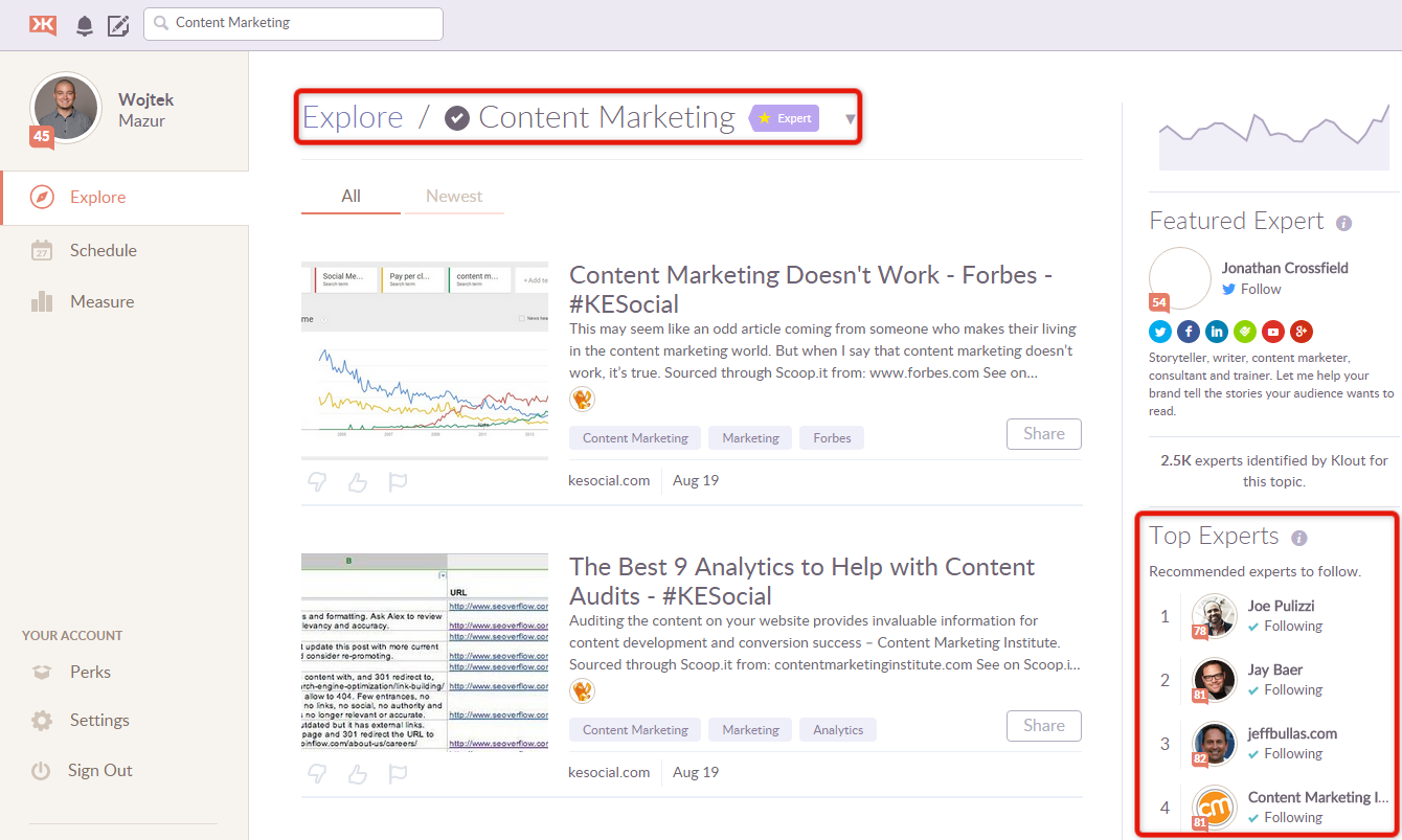 content marketing strategy - Klout tool