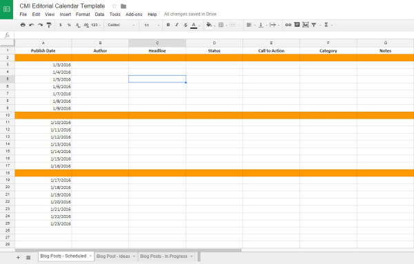Editorial Calendar Tips Tools And Templates - Blog post schedule template