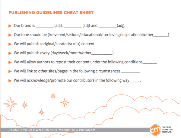 publishing guidelines cheat sheet