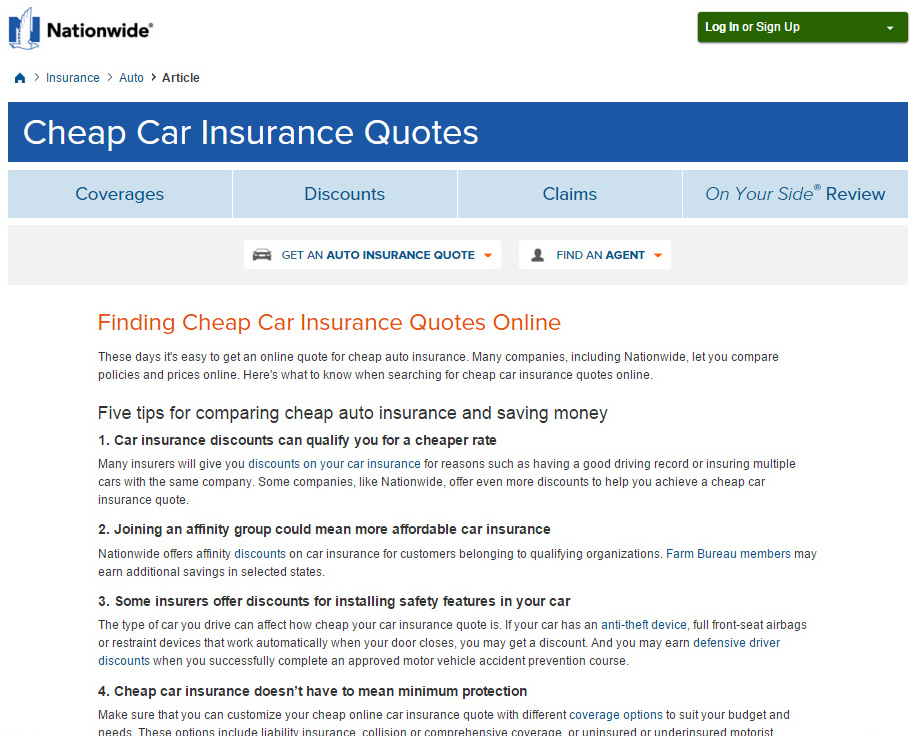 Nationwide Cheap Car Insurance Quotes Screenshot