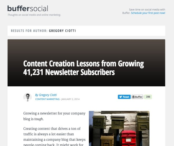 Buffer Blog- Gregory Ciotto