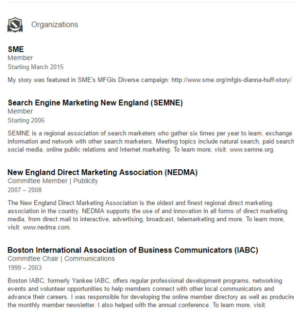 linkedin profile tips ideas for marketers dianna huff organization example linkedin